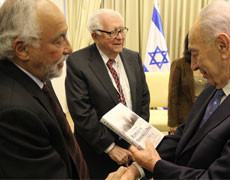 "Israeli President accepts copy of ""Ripples in Opperman's Pond"""
